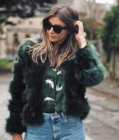 jacket,tumblr,army green jacket,fur jacket,faux fur jacket,shirt,sunglasses,black sunglasses