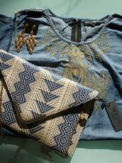 bag,denim shirt,envelope clutch