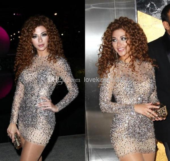 Cheap 2014 Short Prom Dress - Discount Crystal Myriam Fares Short Prom Dresses Long Sleeve Online with $157.07/Piece | DHgate