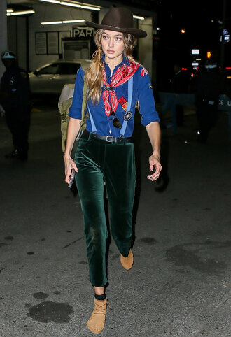 pants velvet pants cropped velvet pants green pants cropped pants velvet shirt blue shirt hat boots brown boots ankle boots gigi hadid celebrity style celebrity model model off-duty suspenders