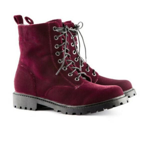shoes grunge combat boots velvet burgundy