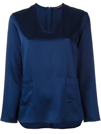 blouse women blue top