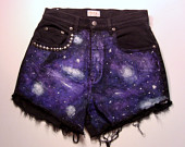 high waisted galaxy shorts on Etsy, a global handmade and vintage marketplace.