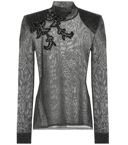 Christopher Kane Embroidered metallic top in black