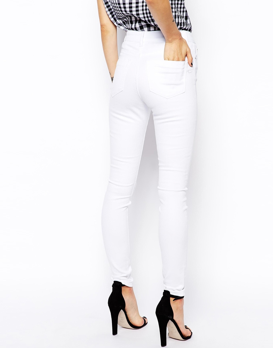 High waisted skinny jeans white – Global fashion jeans models