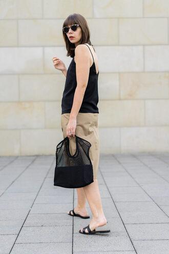 top tumblr black top camisole skirt nude skirt midi skirt shoes black shoes slide shoes bag mesh bag net bag mesh