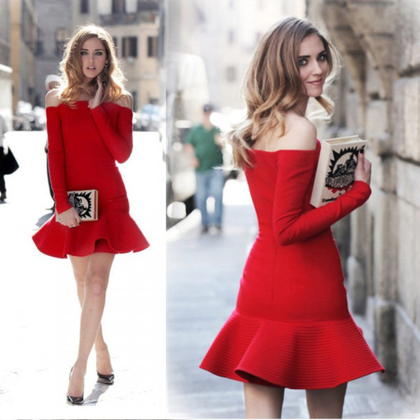 2014 Christmas Party Dress: Dress: Red, 2014, Long Sleeves, Christmas, Mermaid, Winter