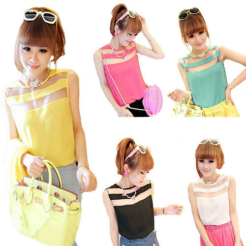 POPULAR SUMMER LADY'S WOMEN'S CHIFFON T-SHIRT SLEEVELESS VEST BLOUSE TOPS B35K | eBay