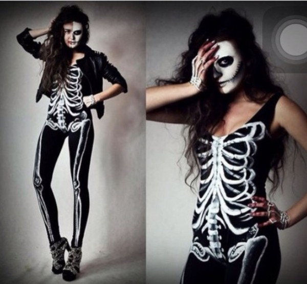 b1f01f3b41b6 Women Skeleton Bone Punk Romper Jumpsuit Sexy Skeleton Bodysuit ...