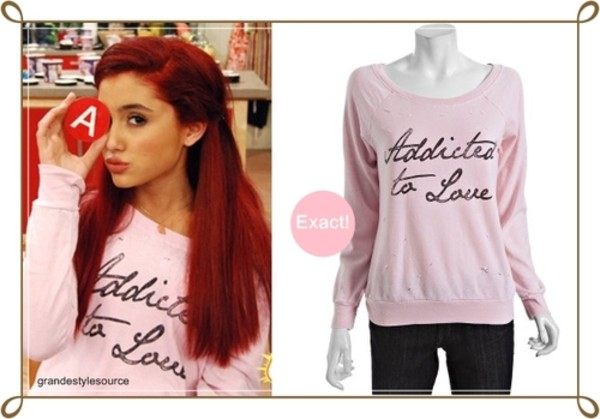 sweater ariana grande clothes series victorious cats long sleeves ariana grande pink