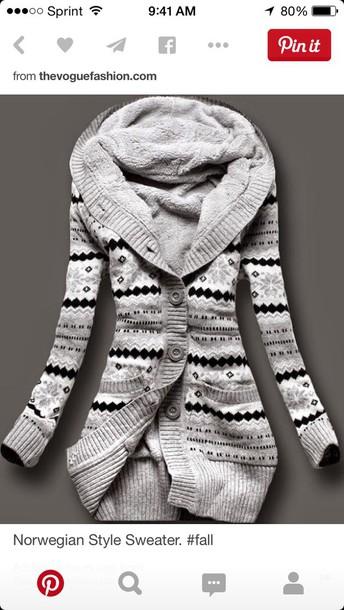 coat norwegian style sweater  greyy