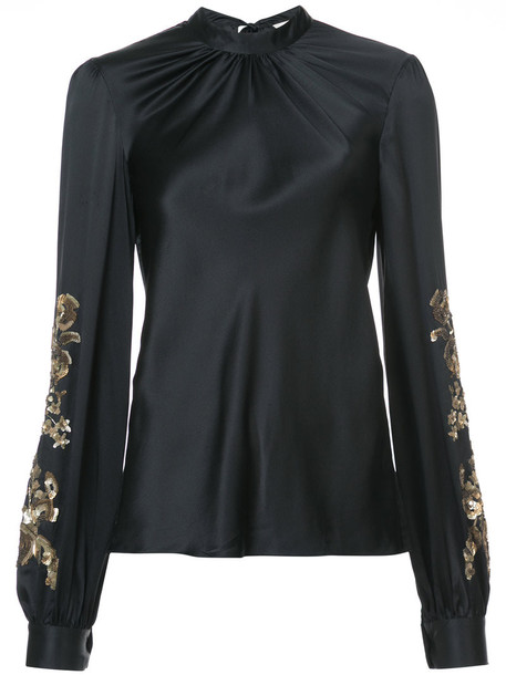 blouse women embellished black silk top