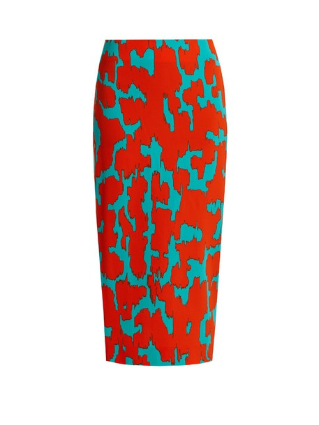 Diane Von Furstenberg skirt pencil skirt print orange