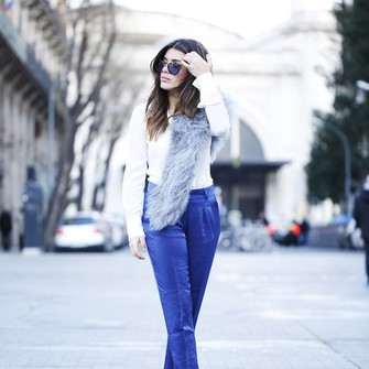 scarf shoes sunglasses blouse pants blogger cropped pants red heels dulceida blue pants fluffy fur scarf scarf red