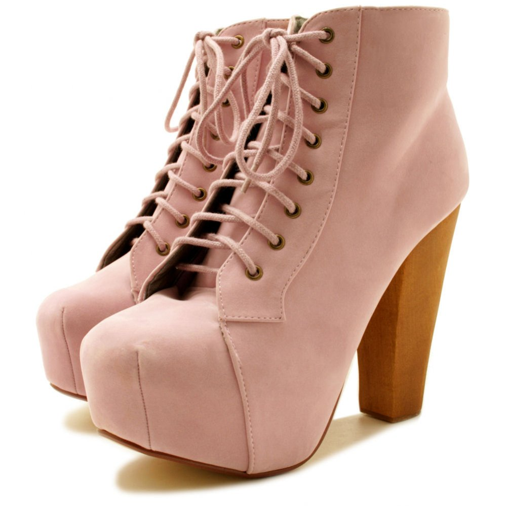 Lace Up Ankle Boots With Heel