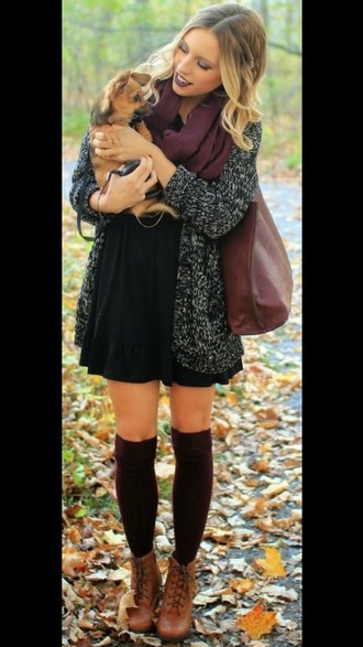dress fall outfits cardigan black dress knee high socks scarf maroon scarf booties boots
