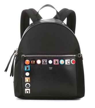 studded backpack canvas backpack leather black bag