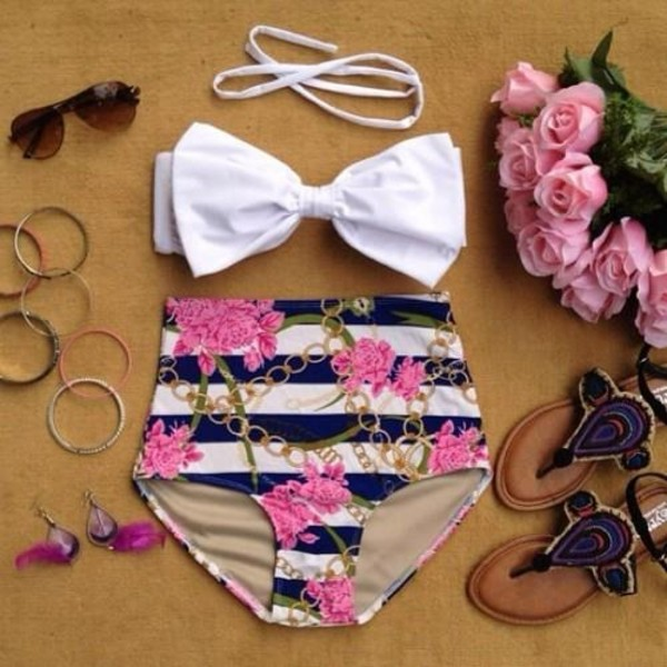swimwear high waisted bikini navy and pink high-waisted bathing suit floral stripes stripes bow