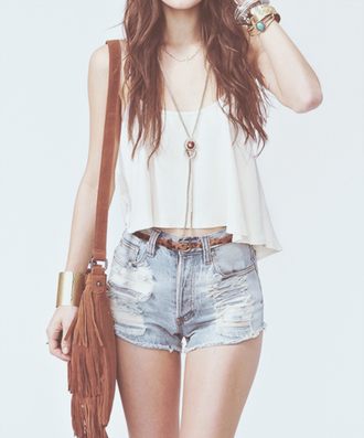 tank top shorts sexy lovely belt cute outfit outwear pretty white jeans brown country western modern trendy bag shirt tumblr hair weheartit fashion teenagers topshop top