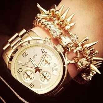 jewels watch gold fashion spikes