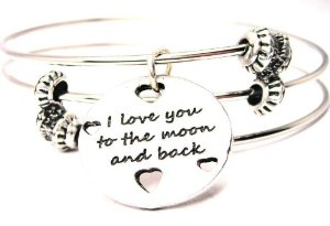 Amazon.com: I Love You to the Moon and Back with Hearts Triple Wire One Size Fits All Bangle Bracelet Made in the USA: Charm Bracelets: Jewelry