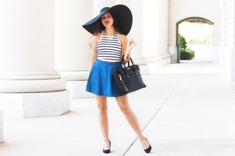 a walk in the park blogger top skirt shoes bag jewels hat shorts