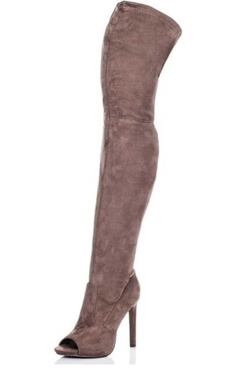 shoes nude thigh high boots taupe