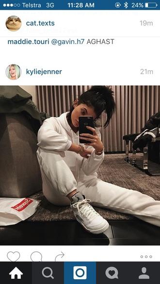 shoes kylie jenner kardashians tracksuit sportswear urban dope air jordan all white everything sweatshirt sweatpants instagram sweater nike jordan shoes nike jumpsuit jordans joggers pants white