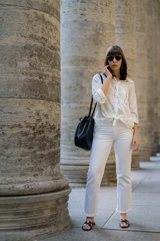 shirt white jeans tumblr white shirt denim jeans shoes slide shoes bag black bag bucket bag sunglasses