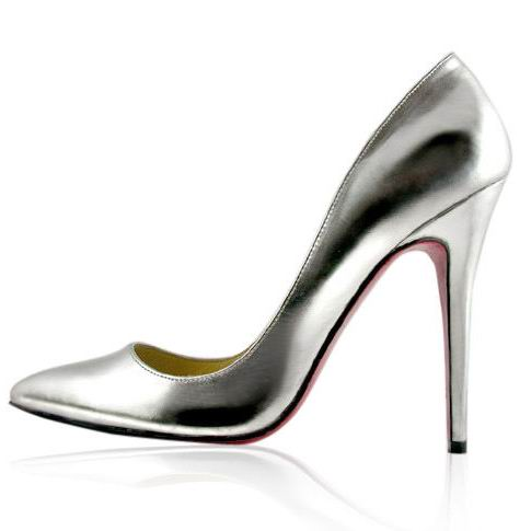 Christian Louboutin Leather Pigalle Pumps Silver