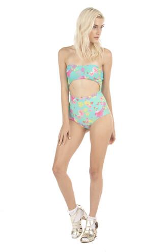 swimwear blue floral full coverage green high waisted lolli swim monokini print one piece bikiniluxe