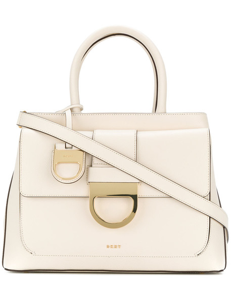DKNY - buckle cross-body tote - women - Leather - One Size, White, Leather