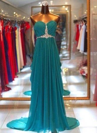dress teal prom dress bling pretty love it