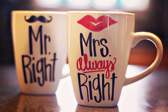 mr right and mrs always right lips and mustache coffee mugs