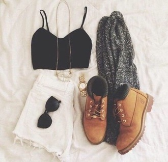 shorts white top black highwastedshorts crop tops black top sunglasses jewels cardigan