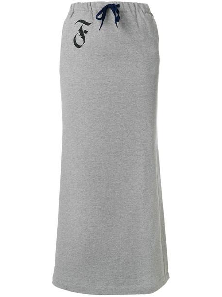 skirt women drawstring cotton grey