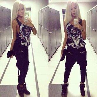 pants tank top black pants harem pants alena shiskova alena shishkova