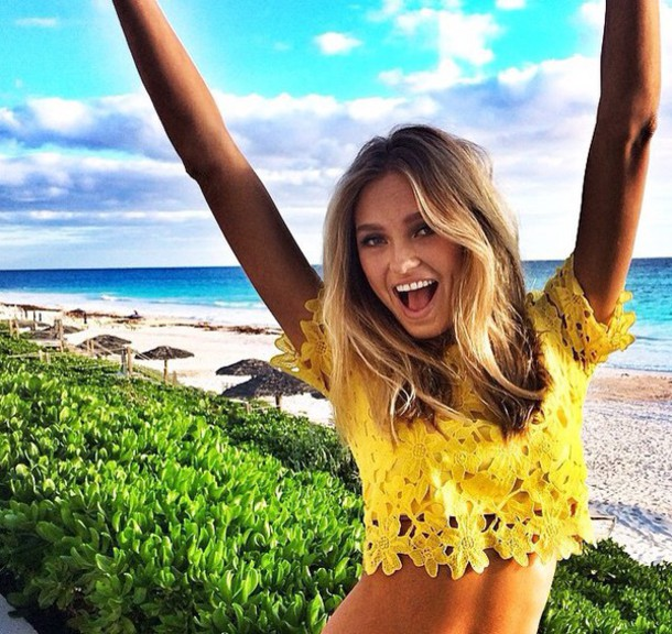 blouse yellow top top romee strijd
