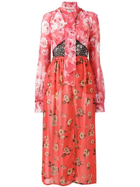 Attico dress print dress women cotton print silk red