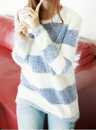 sweater stripes blue white warm cozy casual scoop neck color splicing striped long sleeve women's sweater fashion style casual rg