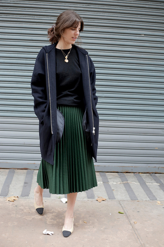 man repeller blogger coat skirt jewels