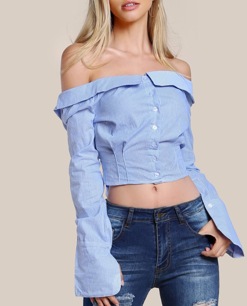 blouse girly blue off the shoulder off the shoulder top crop tops crop cropped button up