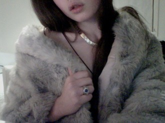 coat fur fur coat fur vest chic grunge soft grunge grunge coat