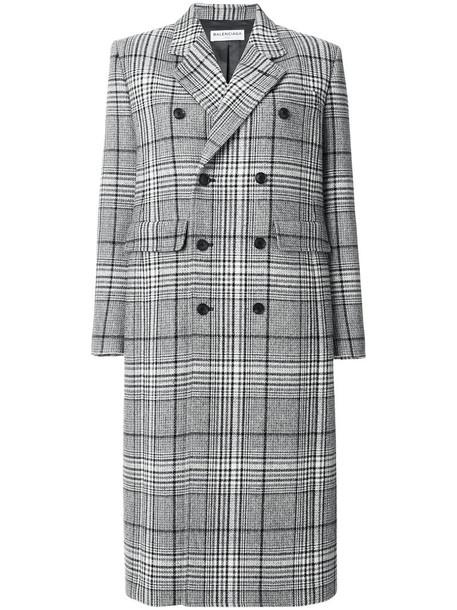 Balenciaga coat double breasted women classic wool grey