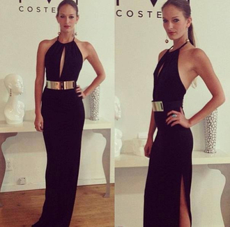 dress belt slit dress sleek black formal black dress little black dress maxi dress gold black dress long prom dress fashion cut-out cut-out dress black cutout dress gold belt dress halter neck dress