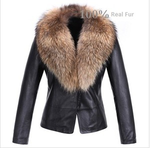 Real Lamb Leather Soft Jacket with Raccoon Fur Collar | eBay
