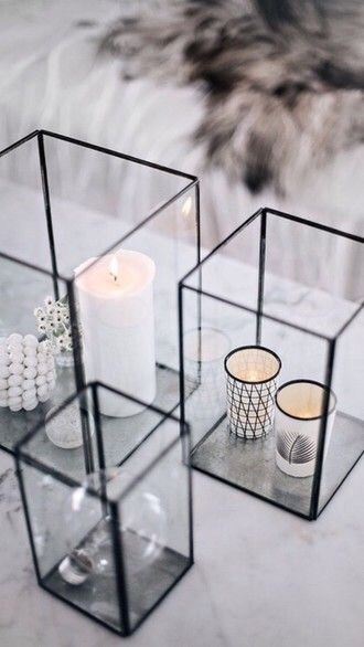 home accessory black glass square candle holder