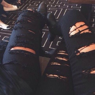 jeans black ripped ripped jeans denim fashion