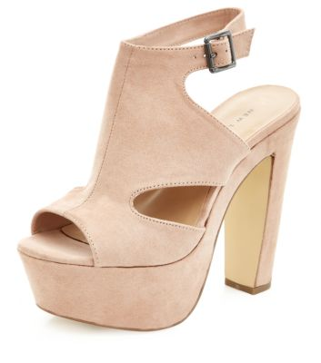 Stone Cut Out High Vamp Peep Toe Heels