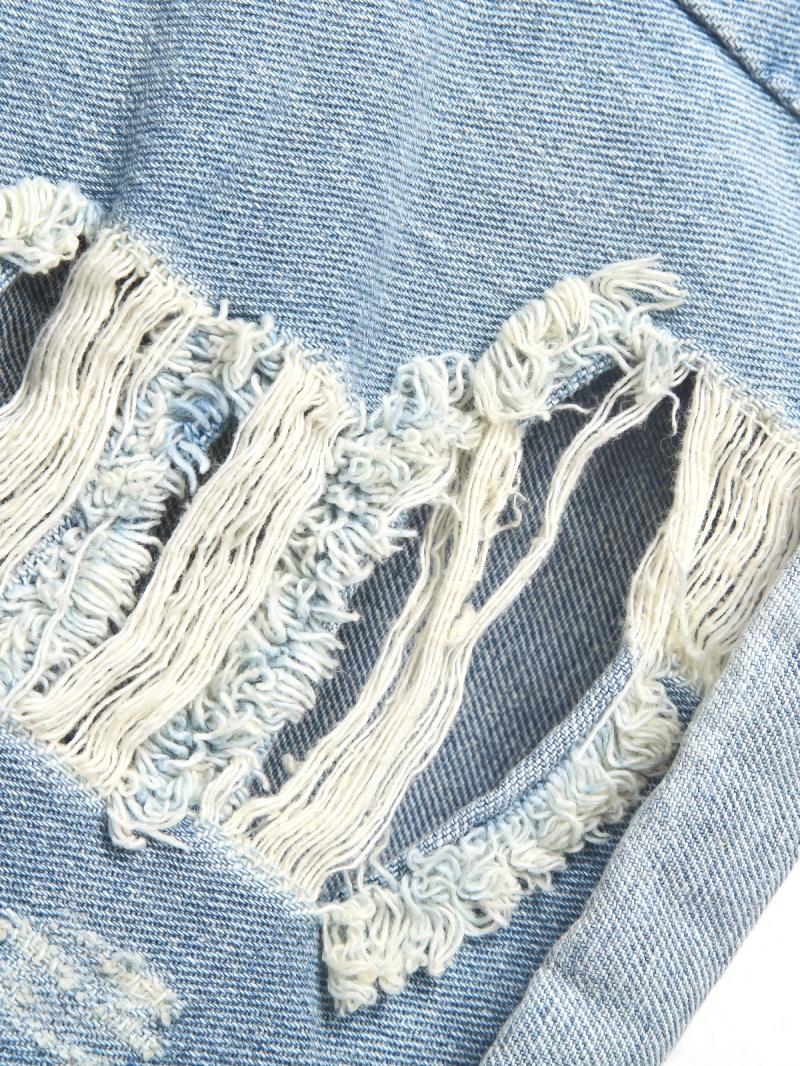 Blue Pockets Ripped Flange Denim Shorts - Sheinside.com